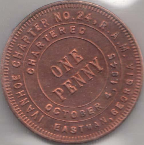 IVANHOE CHAPTER NO  24, R A M  / CHARTERED / ONE / PENNY / OCTOBER 4